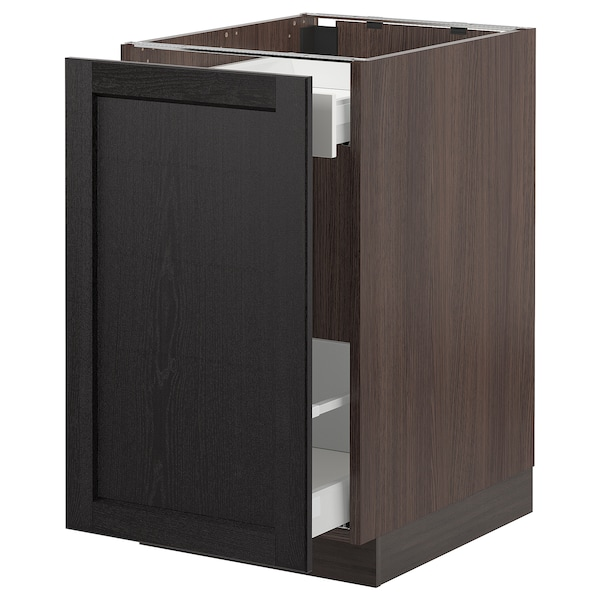"""SEKTION Base cabinet for sorting + 1 door, brown Maximera/Lerhyttan black stained, 18x24x30 """""""