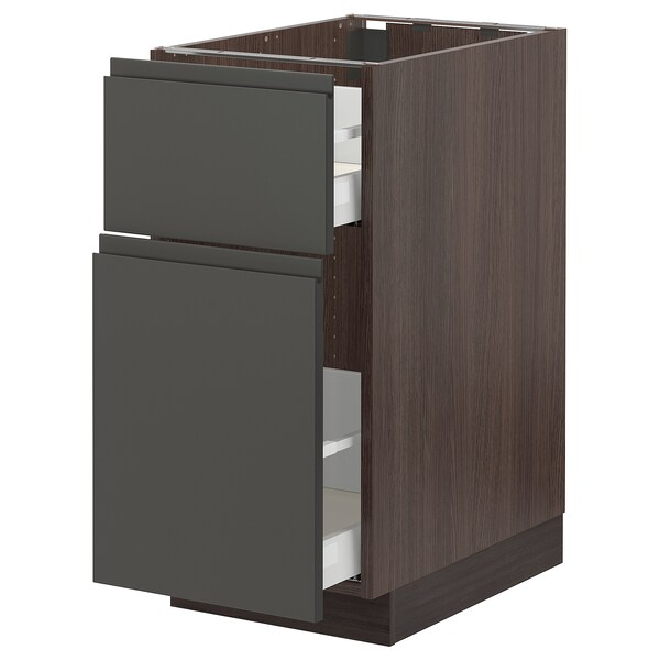 SEKTION Base cabinet/p-out storage/drawer, brown Maximera/Voxtorp dark gray, 15x24x30 ""