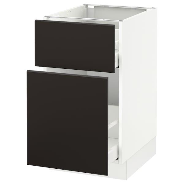 "SEKTION Base cabinet/p-out storage/drawer, white Maximera/Kungsbacka anthracite, 18x24x30 """