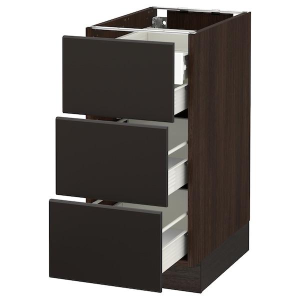"SEKTION Base cabinet w/3 fronts & 4 drawers, brown Förvara/Kungsbacka anthracite, 15x24x30 """