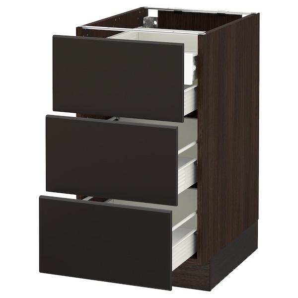 "SEKTION Base cabinet w/3 fronts & 4 drawers, brown Förvara/Kungsbacka anthracite, 18x24x30 """