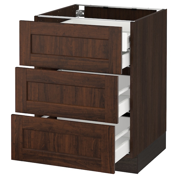 SEKTION Base cabinet w/3 fronts & 4 drawers, brown Maximera/Edserum brown, 24x24x30 ""