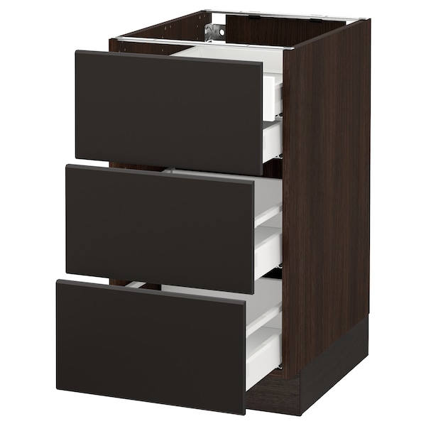 """SEKTION Base cabinet w/3 fronts & 4 drawers, brown Maximera/Kungsbacka anthracite, 18x24x30 """""""