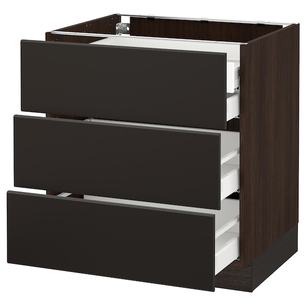 """SEKTION Base cabinet w/3 fronts & 4 drawers, brown Maximera/Kungsbacka anthracite, 30x24x30 """""""