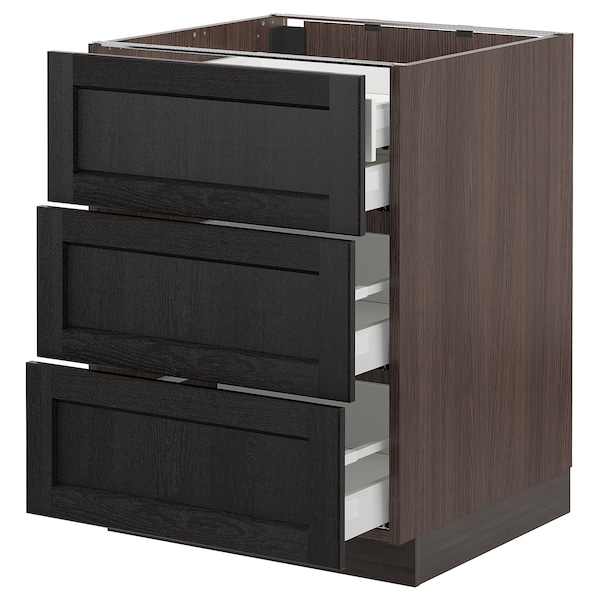 """SEKTION Base cabinet w/3 fronts & 4 drawers, brown Maximera/Lerhyttan black stained, 24x24x30 """""""