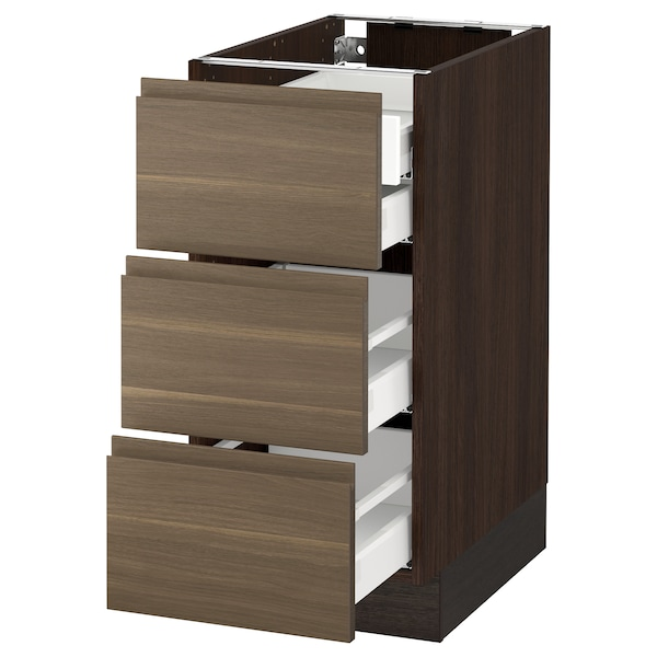 "SEKTION Base cabinet w/3 fronts & 4 drawers, brown Maximera/Voxtorp walnut, 15x24x30 """