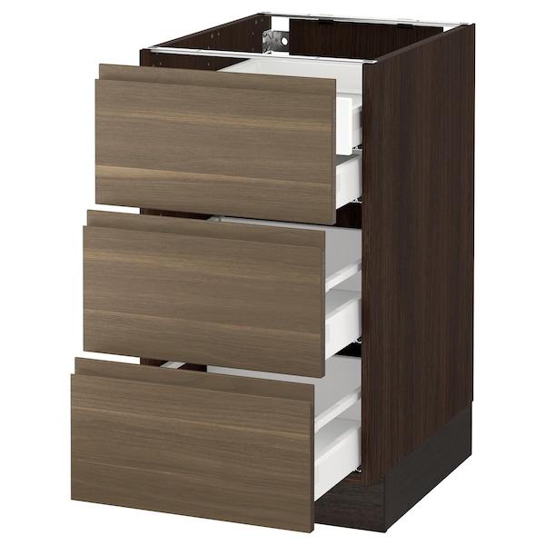 "SEKTION Base cabinet w/3 fronts & 4 drawers, brown Maximera/Voxtorp walnut, 18x24x30 """