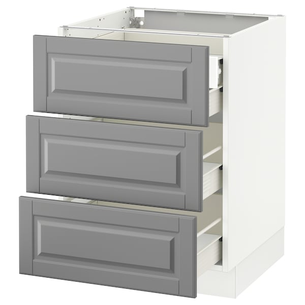 SEKTION Base cabinet w/3 fronts & 4 drawers, white Förvara/Bodbyn gray, 24x24x30 ""