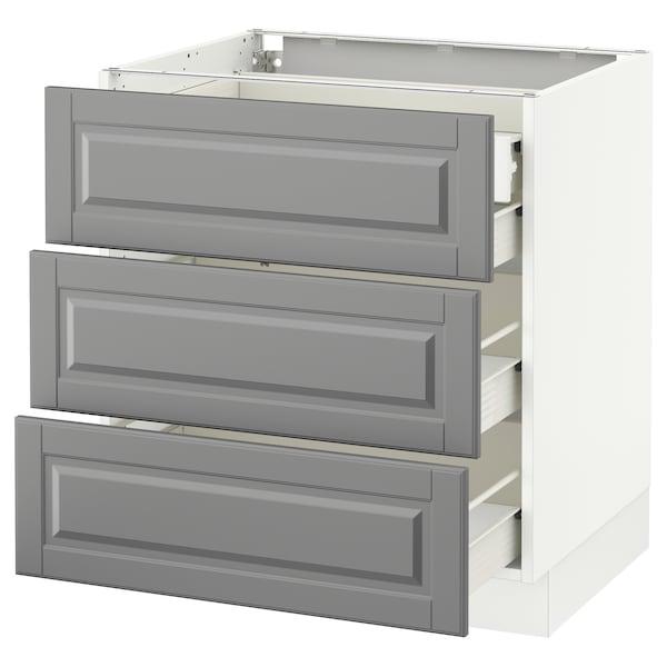 "SEKTION Base cabinet w/3 fronts & 4 drawers, white Förvara/Bodbyn gray, 30x24x30 """