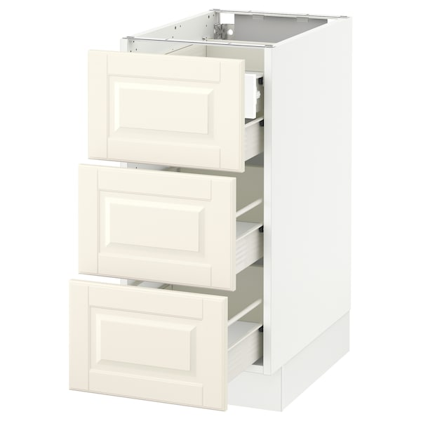 SEKTION Base cabinet w/3 fronts & 4 drawers, white Förvara/Bodbyn off-white, 15x24x30 ""