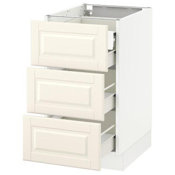 "SEKTION Base cabinet w/3 fronts & 4 drawers, white Förvara/Bodbyn off-white, 18x24x30 """