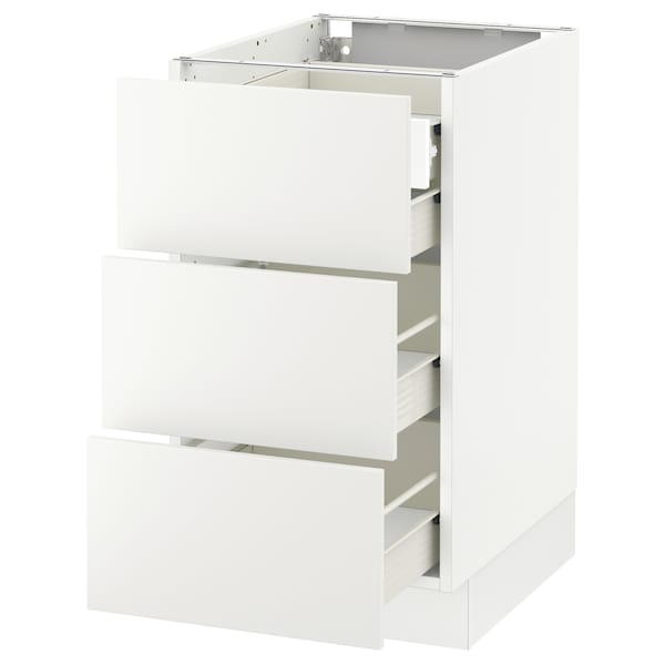 "SEKTION Base cabinet w/3 fronts & 4 drawers, white Förvara/Häggeby white, 18x24x30 """