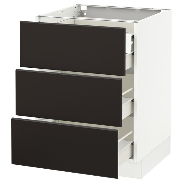 SEKTION Base cabinet w/3 fronts & 4 drawers, white Förvara/Kungsbacka anthracite, 24x24x30 ""
