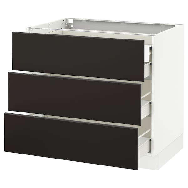 """SEKTION Base cabinet w/3 fronts & 4 drawers, white Förvara/Kungsbacka anthracite, 36x24x30 """""""