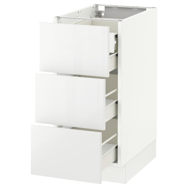 SEKTION Base cabinet w/3 fronts & 4 drawers, white Förvara/Ringhult white, 15x24x30 ""