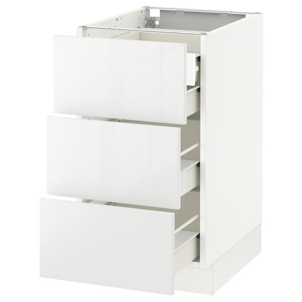 "SEKTION Base cabinet w/3 fronts & 4 drawers, white Förvara/Ringhult white, 18x24x30 """