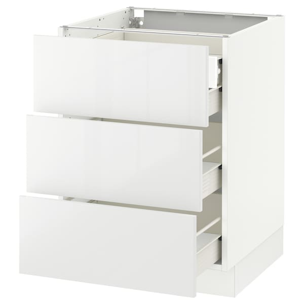 SEKTION Base cabinet w/3 fronts & 4 drawers, white Förvara/Ringhult white, 24x24x30 ""