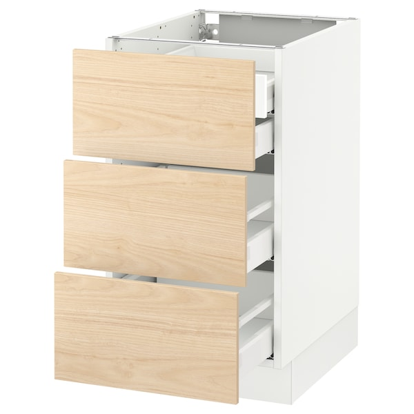 SEKTION Base cabinet w/3 fronts & 4 drawers, white Maximera/Askersund light ash effect, 18x24x30 ""