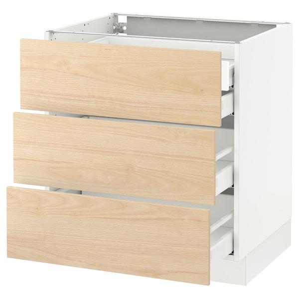 "SEKTION Base cabinet w/3 fronts & 4 drawers, white Maximera/Askersund light ash effect, 30x24x30 """
