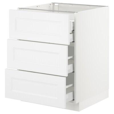 "SEKTION Base cabinet w/3 fronts & 4 drawers, white Maximera/Axstad matt white, 24x24x30 """