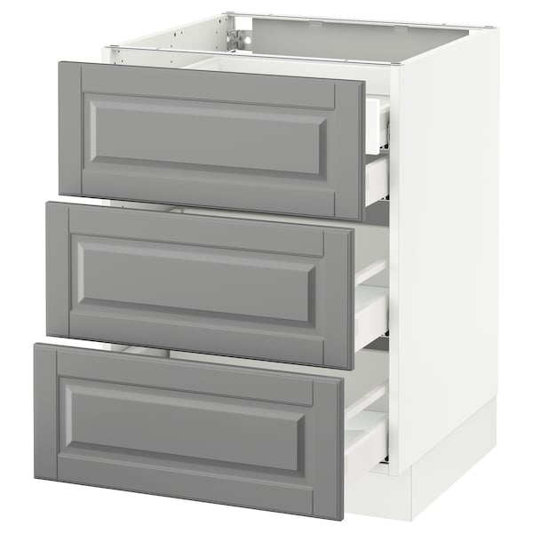 SEKTION Base cabinet w/3 fronts & 4 drawers, white Maximera/Bodbyn gray, 24x24x30 ""