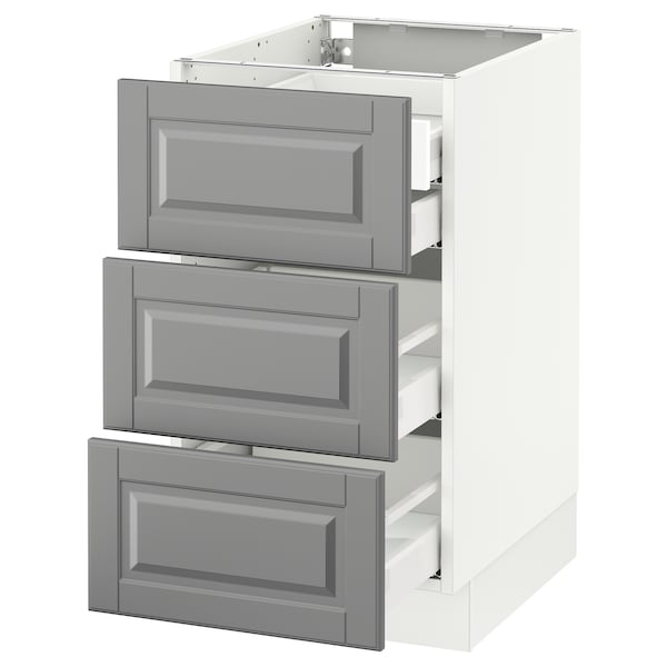 SEKTION Base cabinet w/3 fronts & 4 drawers, white Maximera/Bodbyn gray, 18x24x30 ""