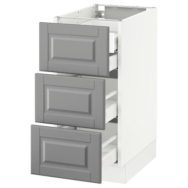"SEKTION Base cabinet w/3 fronts & 4 drawers, white Maximera/Bodbyn gray, 15x24x30 """