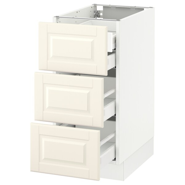 "SEKTION Base cabinet w/3 fronts & 4 drawers, white Maximera/Bodbyn off-white, 15x24x30 """