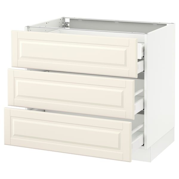 SEKTION Base cabinet w/3 fronts & 4 drawers, white Maximera/Bodbyn off-white, 36x24x30 ""