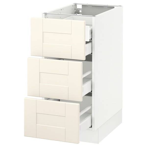 SEKTION Base cabinet w/3 fronts & 4 drawers, white Maximera/Grimslöv off-white, 15x24x30 ""