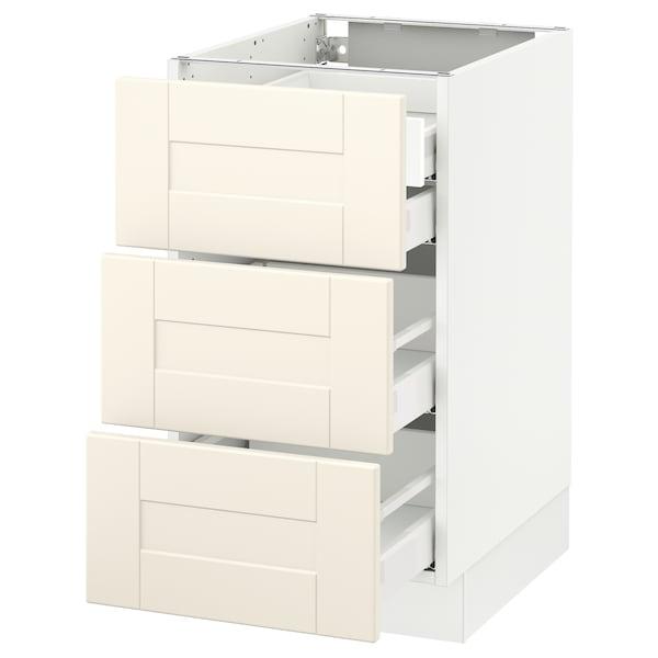 "SEKTION Base cabinet w/3 fronts & 4 drawers, white Maximera/Grimslöv off-white, 18x24x30 """