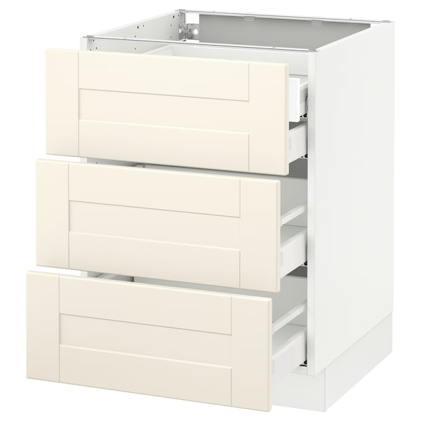 SEKTION Base cabinet w/3 fronts & 4 drawers, white Maximera/Grimslöv off-white, 24x24x30 ""