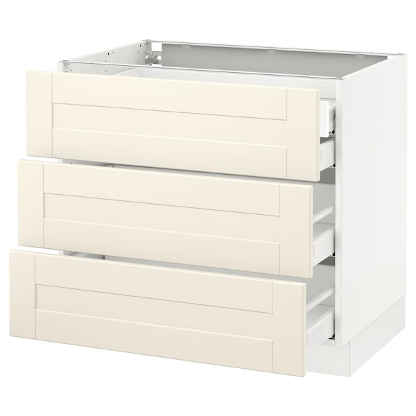 SEKTION Base cabinet w/3 fronts & 4 drawers, white Maximera/Grimslöv off-white, 36x24x30 ""