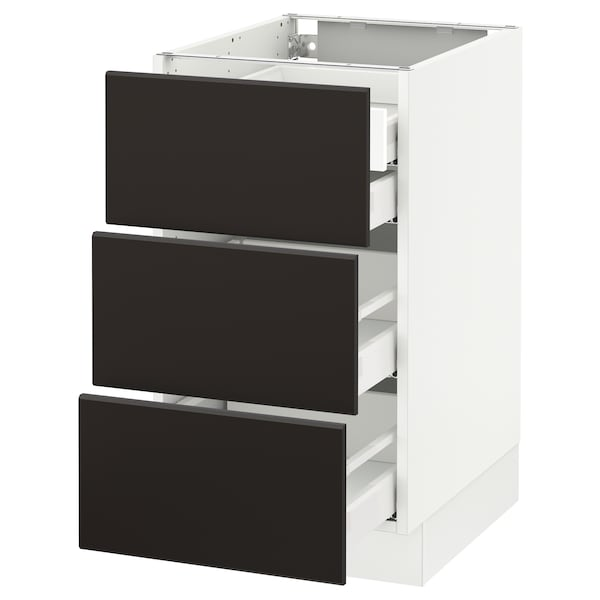 """SEKTION Base cabinet w/3 fronts & 4 drawers, white Maximera/Kungsbacka anthracite, 18x24x30 """""""