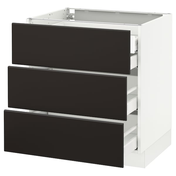 """SEKTION Base cabinet w/3 fronts & 4 drawers, white Maximera/Kungsbacka anthracite, 30x24x30 """""""