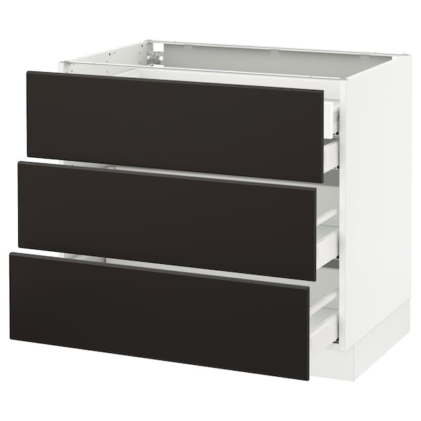 """SEKTION Base cabinet w/3 fronts & 4 drawers, white Maximera/Kungsbacka anthracite, 36x24x30 """""""