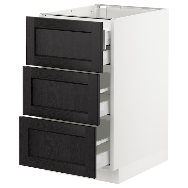 """SEKTION Base cabinet w/3 fronts & 4 drawers, white Maximera/Lerhyttan black stained, 18x24x30 """""""