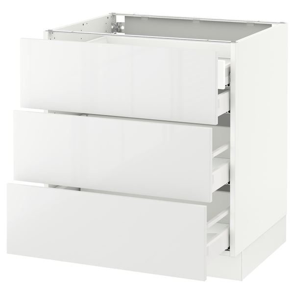 SEKTION Base cabinet w/3 fronts & 4 drawers, white Maximera/Ringhult white, 30x24x30 ""
