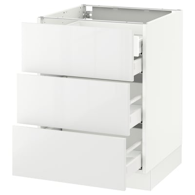 SEKTION Base cabinet w/3 fronts & 4 drawers, white Maximera/Ringhult white, 24x24x30 ""