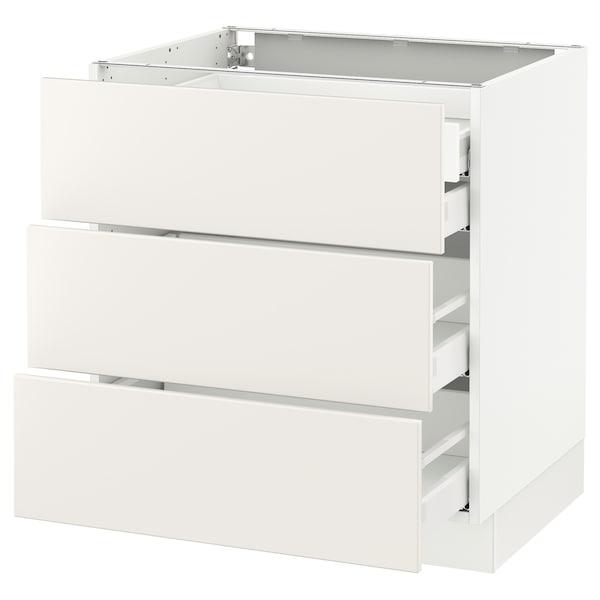 """SEKTION Base cabinet w/3 fronts & 4 drawers, white Maximera/Veddinge white, 30x24x30 """""""