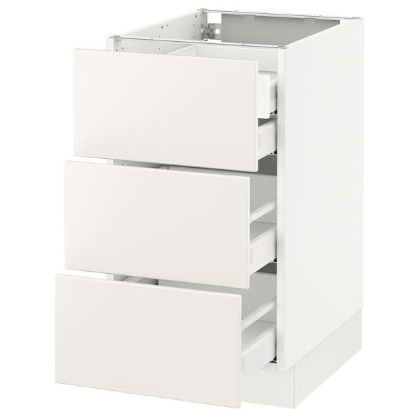 """SEKTION Base cabinet w/3 fronts & 4 drawers, white Maximera/Veddinge white, 18x24x30 """""""