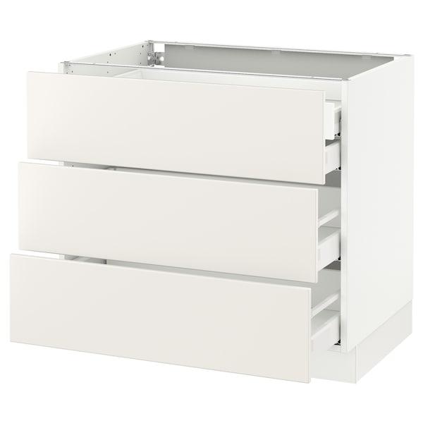 """SEKTION Base cabinet w/3 fronts & 4 drawers, white Maximera/Veddinge white, 36x24x30 """""""