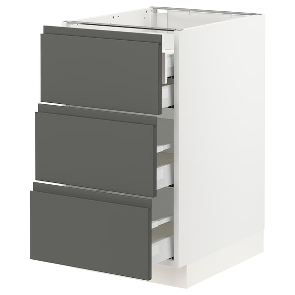 SEKTION Base cabinet w/3 fronts & 4 drawers, white Maximera/Voxtorp dark gray, 18x24x30 ""
