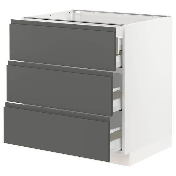 "SEKTION Base cabinet w/3 fronts & 4 drawers, white Maximera/Voxtorp dark gray, 30x24x30 """