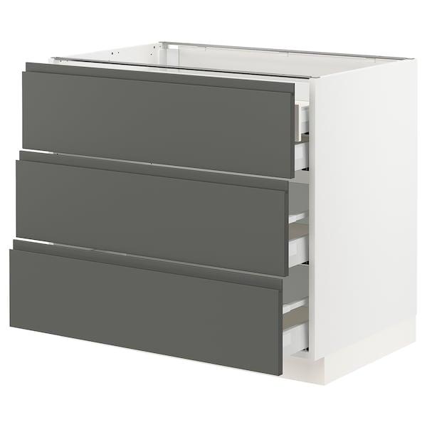 "SEKTION Base cabinet w/3 fronts & 4 drawers, white Maximera/Voxtorp dark gray, 36x24x30 """