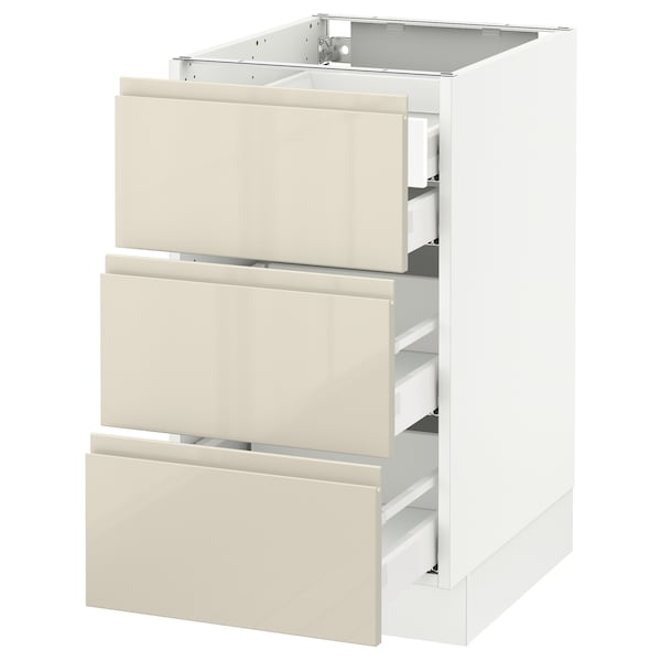 SEKTION Base cabinet w/3 fronts & 4 drawers, white Maximera/Voxtorp high-gloss light beige, 18x24x30 ""