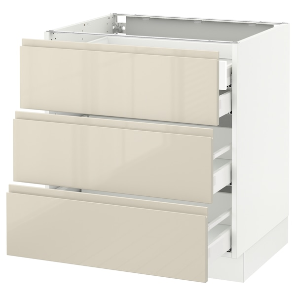 SEKTION Base cabinet w/3 fronts & 4 drawers, white Maximera/Voxtorp high-gloss light beige, 30x24x30 ""