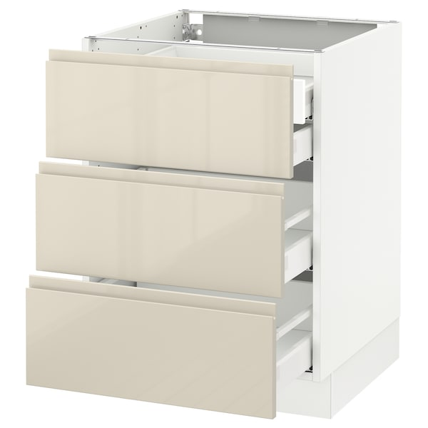 SEKTION Base cabinet w/3 fronts & 4 drawers, white Maximera/Voxtorp high-gloss light beige, 24x24x30 ""