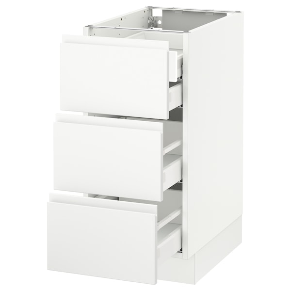 SEKTION Base cabinet w/3 fronts & 4 drawers, white Maximera/Voxtorp matt white, 15x24x30 ""