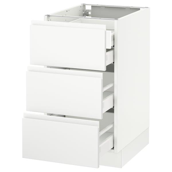 "SEKTION Base cabinet w/3 fronts & 4 drawers, white Maximera/Voxtorp matt white, 18x24x30 """